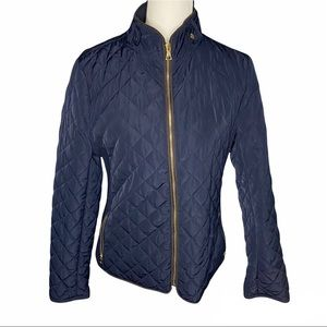 Cambridge Blue and gold Quilted Puffer Jacket  size medium